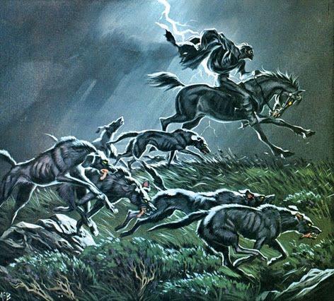 Wild Hunt hounds huntsman